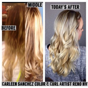 Blond Balayage Color Correction by Carleen Sanchez. Home haircolor is not your friend.